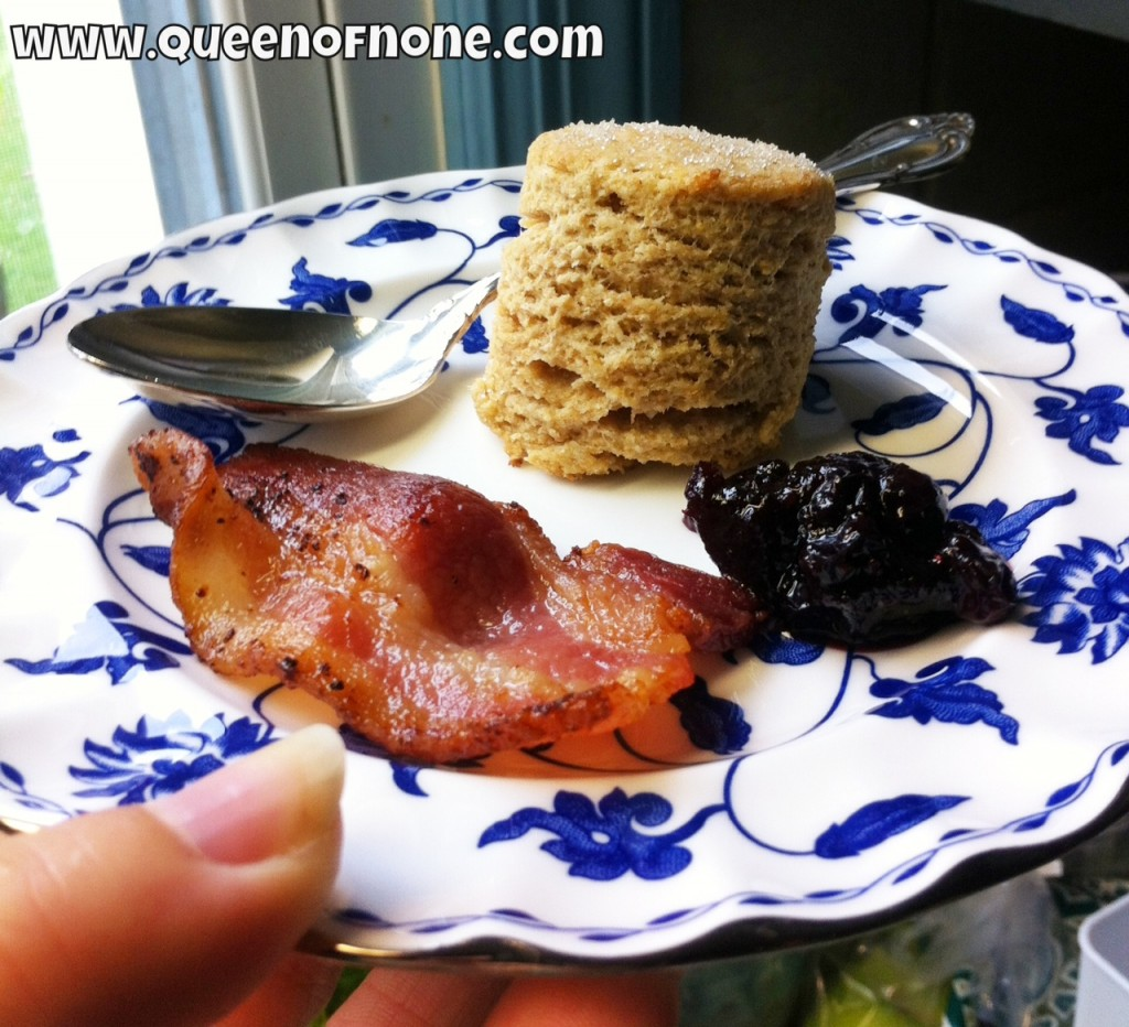 Blueberry Jam with Biscuit, and Bacon